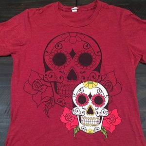 Sugar Skull Graphic T, Maroon